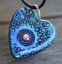 Heart Pendant with Crystal  Mandala by purplecactusstudios