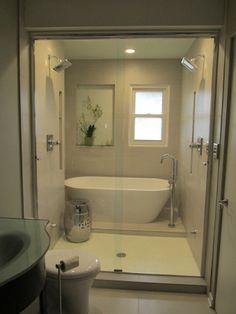 Master Bathroom Tub With Steps 42 Ideas For 2020 Small Bathroom With Tub, Master Bathroom Tub, Bathroom Tub Shower, Tub Shower Combo, Bathroom Renos, Bathroom Interior, Vanity Bathroom, Bathroom Closet, Budget Bathroom