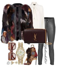 A fashion look from December 2017 featuring white shirt, fur jacket and leather pants. Browse and shop related looks. Lila Outfits, Classy Outfits, Chic Outfits, Fashion Outfits, Womens Fashion, Fashion Trends, Fall Winter Outfits, Autumn Winter Fashion, Look Fashion