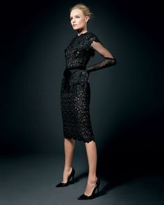 Kate Bosworth and Tom Ford Fall 2011 Velvet Ribbon Belted Capsleeve Guipure Lace Dress Photograph
