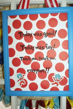 Thing 1 and Thing 2 Dr Seuss Party This will be cute at the gift table @Haley Holder