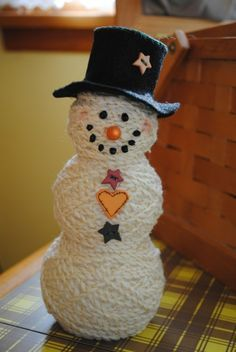 Easy to make snowman with balls of yarn. -- Craft Closet: Ball of Yarn Christmas Crafts