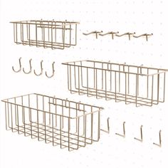 This 3 basket and 12 hooks set in Brass/ Gold fits most 1/4 and 1/8 boards and goes well with our Pin Peg and Home pegboard selection.  Add our White or Walnut shelf for extra storage and creative organization   #craftstorage #pegboardgarageorganization #wirebaskets # #pegboardinspiration #pegboard #homeorganization #homeorganizing