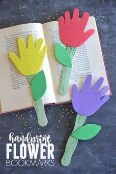 Handprint Flower Bookmarks - Kid Craft