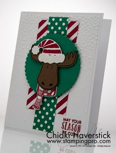 One of the 6 cards featured at my recent Christmas card class this year. This one is based on a card by Jari. Jolly Friends & Stitched with Cheer Stamp sets; Stampin Up Christmas, Cozy Christmas, Handmade Christmas, Christmas Crafts, Christmas 2016, Christmas Ideas, Xmas Cards, Holiday Cards, Punch