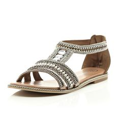 Pink bead and gem sandals - flat sandals - shoes / boots - women
