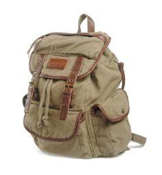 Kattee® Vintage Sac en Toile et Cuir Sacoche Sac à dos Laptop Backpack Sac Unisexe Femmes/Hommes (vert d'armée)