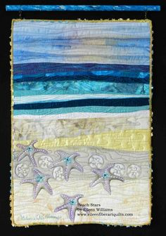 This type of blue quilts is certainly a noteworthy style theme. Ocean Quilt, Beach Quilt, Fish Quilt, Small Quilts, Mini Quilts, Blue Quilts, Textiles, Coastal Quilts, Mermaid Quilt