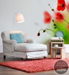 Wall Mural Poppies - inspiration wall mural, interiors gallery• PIXERSIZE.com