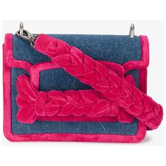 Miu Miu braided denim box bag ($1,460) ❤ liked on Polyvore featuring bags, handbags, shoulder bags, pink shoulder handbags, woven handbags, miu miu, denim shoulder handbags and pink purse