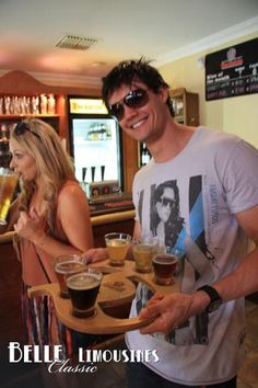 Beer tasting tray at the Duckstein Brewery #swanvalleytours  http://www.belle.net.au/swan-valley-wine-tours/
