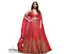 Look graceful and sophisticated at the upcoming wedding party by wearing thisColoured Party wear lehenga-choli-dupatta set by Kvinner Featuring an eye-catching design, pattern and Embroidery, this set will surely make you stand out from the crowd. Red Lehenga, Party Wear Lehenga, Bollywood Photos, Bollywood Fashion, Lehenga Online Shopping, Lehenga Choli Online, Lakme Fashion Week, Embroidered Silk, Blouse Designs