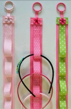 DIY headband holder. Made with ribbon.