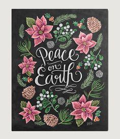 Christmas Art Print- Peace On Earth - Holiday Chalkboard Art - Winter Decor - Christmas Home Decor - Christmas Print - Chalk Art