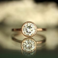 6.5mm Forever Brilliant Moissanite 14K Rose Gold Engagement Ring, Stacking Ring - Made To Order on Etsy, $880.00