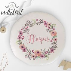 Personalised Floral Wreath round cushion. Personalised Cushions, Personalised Gifts, Velvet Cushions, Unique Gifts, Decorative Plates, Floral Wreath, Wreaths, Design, Personalized Gifts