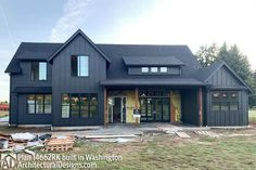 Plan Modern Farmhouse Plan Rich with Features – Farmhouse Plans Black House Exterior, Exterior House Colors, Black Windows Exterior, Modern Exterior House Designs, Mountain Home Exterior, Stone Exterior Houses, Stone Houses, Architectural Design House Plans, Architecture Design