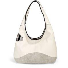 Halston Heritage Texture Block Leather Sack Hobo ($309) ❤ liked on Polyvore