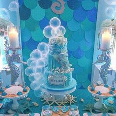 princess first birthday party Mermaid Baby Showers, Baby Mermaid, Mermaid Birthday, Princess First Birthday, Little Girl Birthday, Second Birthday Ideas, Beach Wedding Centerpieces, Little Mermaid Parties, Under The Sea Party
