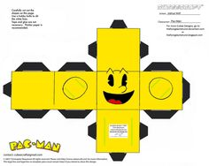 VG Pac-Man Cubee by TheFlyingDachshund on DeviantArt Paper Folding Crafts, Paper Crafts, Paper Art, Festa Do Pac Man, Pac Man Videos, Pac Man Party, Video Game Party, Game Costumes, Mario Brothers