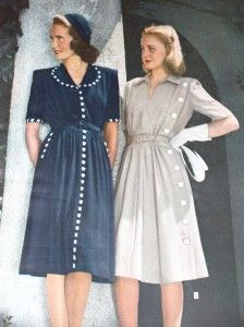 1944 Shirtwaist Dresses with Contrasting White Buttons. http://www.vintagedancer.com/1940s/the-shirtwaist-dress-the-ultimate-1940s-day-dress/