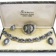 Vintage SIAM Sterling Silver Brooch Bracelet Earrings & Ring in Presentation Case by MyVintageJewels