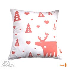 Coral Pink Print on White Moose Christmas Pillow 13 Inches by joom, $21.00