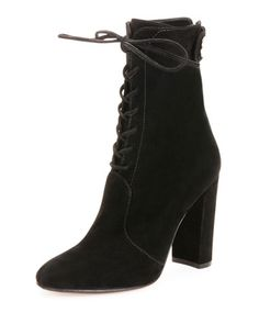 X2TGC Gianvito Rossi Suede Lace-Up Ankle Boot, Black