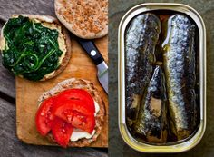 Spinach and Sardine Sandwich Recipe - NYT Cooking Light Sandwiches, Whole Wheat English Muffin, English Muffins, Cooking Recipes, Healthy Recipes, Cooking Stuff, Spinach Recipes, Vegetarian Cooking, Vegetarian Recipes