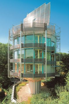 Architect Ralph Disch also designed a rotating house but this one is quite different. Heliotrope is the world's first energy positive solar home. Located in Germany, it was designed to take full advantage of the sun by rating with it. It generates five times the energy it consumes and it looks cool doing it. The house also re-uses greywater and rainwater.
