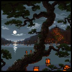Linda Mooney's Other Worlds of Romance: Love the Details in These 64 Bit Scenes Aesthetic Gif, Aesthetic Backgrounds, Fantasy Landscape, Landscape Art, Gifs, Arte 8 Bits, Pixel Art Background, Cool Pixel Art, Pixel Animation