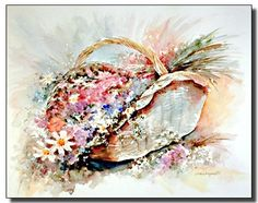 Bunch Of colorful Flowers in Cherubs Vase Pitcher Floral 16x20 Two Set Wall Art