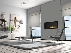 modern architecture - fireplace - rectangular european design - heat & glo - cosmo slr - gas fireplace