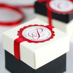 """2"""" Ivory Linen, 2"""" Black with Satin Ribbon and Personalized Labels"""
