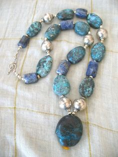 Long Turquoise,  Sterling silver and sodalite necklace by jeweledhorizons,