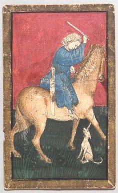 "Spielkarte Jagdhunde Unter aus dem ""Ambraser Hofjagdspiel"", Konrad Witz (Werkstatt), Basel, um 1440/1445. -- http://bilddatenbank.khm.at/viewArtefact?id=91037"