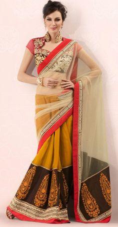 Musturd Color Net Designer Saree ORKW7113A. Sale: $93.60