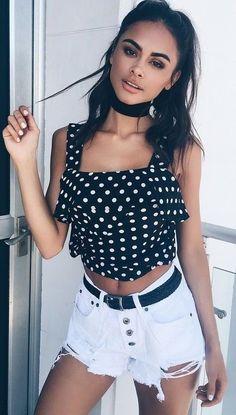 Denim shorts   polka dot top