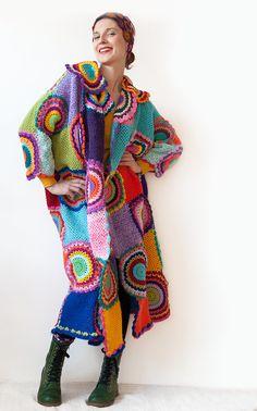 Extra larga más tamaño Cardigan Sweater con círculos por subrosa123