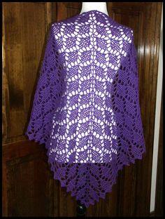"""Flying Diamonds"" crocheted shawl in Purple fingering weight yarn (100% Peruvian Highland wool), 63""W x 33""L (pattern by Vicki Mikulak), $65."
