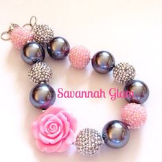 Chunky Rose Bubblegum Necklace, silver and pink. Christening, baptism, first birthday, toddler jewelry on Etsy, $20.00
