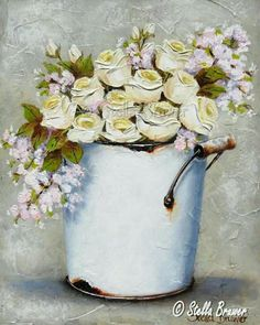 ✿Fragrant Scent Of Roses✿ Stella Bruwer white enamel tall bucket with white ranunculus and soft pink flowers Vintage Flowers, Pink Flowers, Stella Art, South African Artists, Flower Cards, Amazing Flowers, Flower Decorations, Painting Inspiration, Painting & Drawing