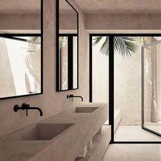 A Minimal Summer House in Balearic Islands, Spain by OOAA Architects - interior design idea . - A Minimal Summer House in Balearic Islands, Spain by OOAA Architects - interior design idea . Beautiful Bathrooms, Modern Bathroom, Small Bathroom, Master Bathroom, Bathroom Ideas, Bathroom Storage, Stone Bathroom, Bathroom Trends, Minimalist Bathroom