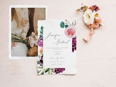 Stationery Design, Wedding Stationery, Wedding Invitations, Watercolor Wedding, Watercolor Flowers, Graphic Design Company, Fall Color Palette, Blush Flowers, Flower Clipart