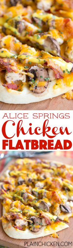 Alice Springs Chicken Flatbread - SO good!!! Chicken, bacon, honey mustard, cheddar cheese and mushrooms. This is a great way to use up leftover chicken. We made these twice last week! We just can't get enough of them!!! Easy weeknight meal! A fun change to pizza night.