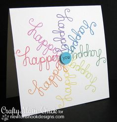 Happy rainbow card by Crafty Math-Chick for Newton's Nook Designs | Simply Sentimental Stamp Set