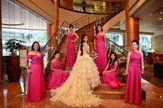 Joyce's bridesmaids in hot pink chiffon dresses Bridesmaids, Bridesmaid Dresses, Prom Dresses, Formal Dresses, Wedding Entourage, Pink Chiffon Dress, Wedding Stuff, Wedding Ideas, Wedding Pinterest