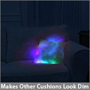 A cushion that lights up... You tap it in the center to turn it on and tap it again to turn it off. I think this is so cool. Maybe for our apartment next year?
