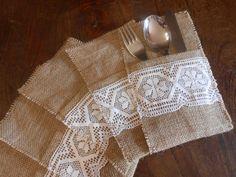 Sei   porta posate fatti a mano con tela juta e pizzo bianco., by Le gioie di  Pippilella, 18,00 € su misshobby.com