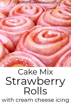 Strawberry cake mix is the perfect base for these soft, fluffy rolls smothered with strawberry jam and cream cheese icing. Strawberry Cinnamon Rolls, Strawberry Recipes, Strawberry Roll Cake, Strawberry Icing, Strawberry Brownies, Cake Mix Recipes, Keto Recipes, Cooking Recipes, Baker Recipes